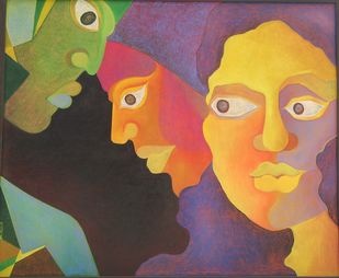 Contemplation by Chaitali Chatterjee, Expressionism Painting, Oil Pastel on Canvas, Brown color