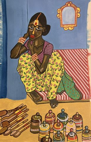 The Ceramic seller Digital Print by Parul Aggarwal,Expressionism