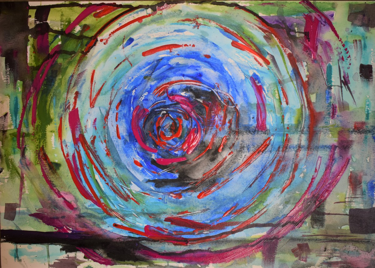 Ajna Chakra by Rabraj Saimy, Abstract Painting, Acrylic on Paper, Brown color