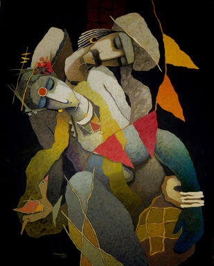 untiteld by Surendra Pal Singh, Expressionism Painting, Oil on Canvas, Brown color