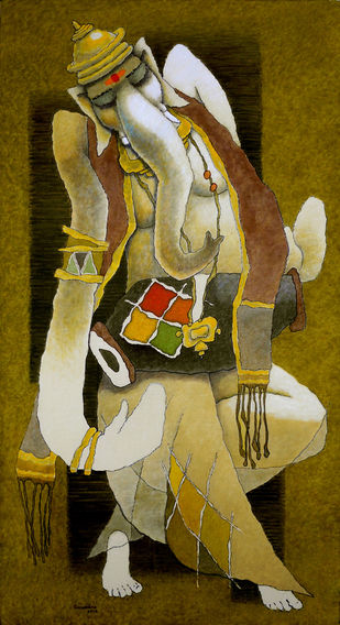Ganesha by Surendra Pal Singh, Expressionism Painting, Mixed Media on Canvas, Brown color