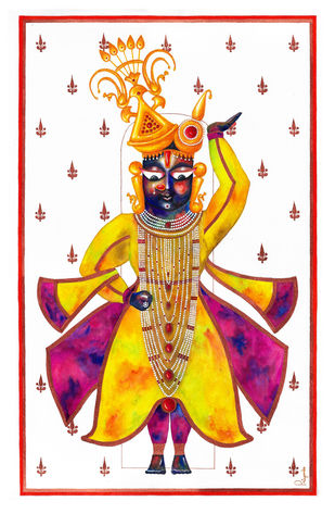 Govardhandhari Shrinathji by Priyanka Joshi, Folk Painting, Watercolor on Paper, White color