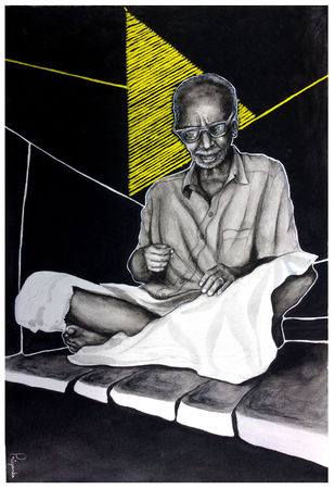 Hanging by a thread by Priyanka Joshi, Expressionism Painting, Ink on Paper, Gray color
