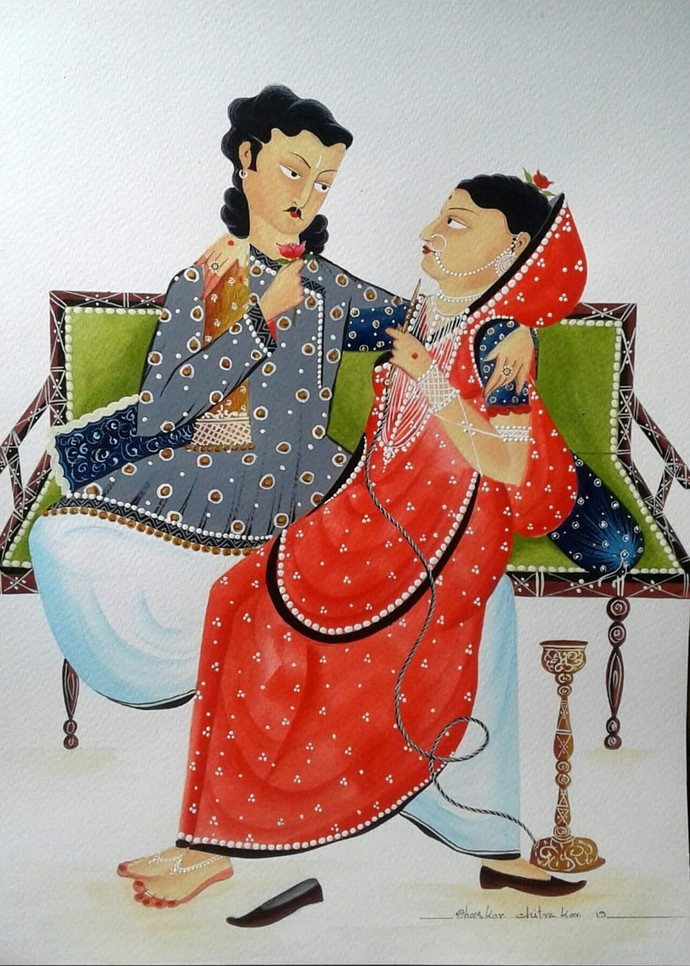 Babu-Bibi romancing by Bhaskar Chitrakar, Folk Painting, Natural colours on paper, Gray color