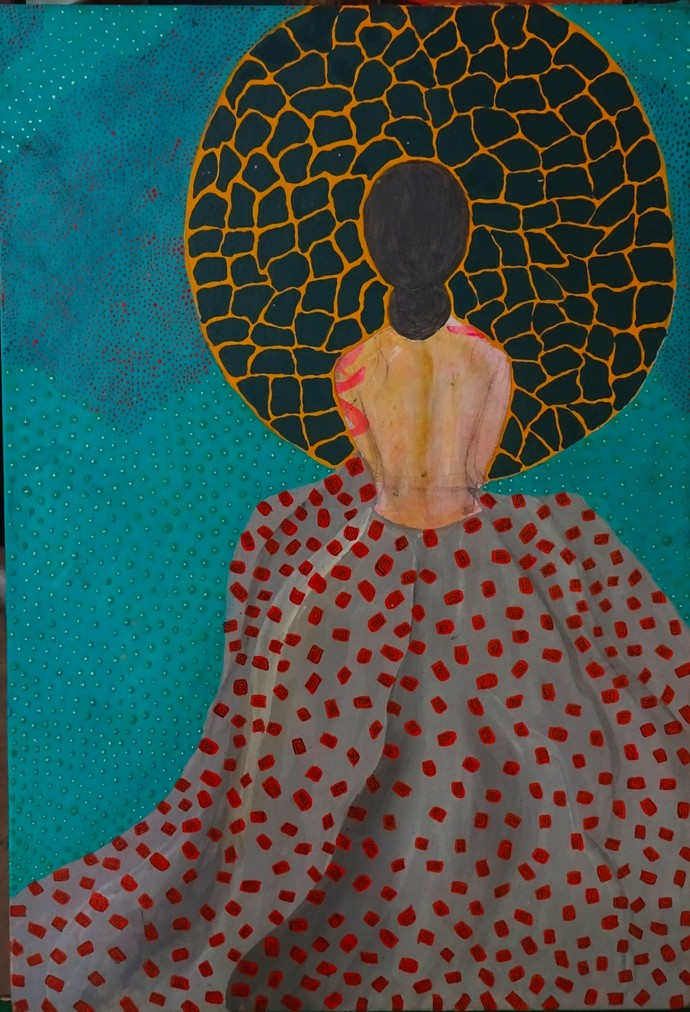 Waiting by Anissha Deshpande, Expressionism Painting, Acrylic on Canvas, Brown color
