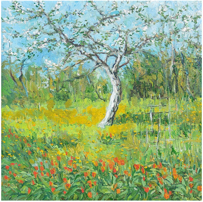 Tulips & Apple Blossoms by Animesh Roy, Expressionism Painting, Oil on Linen, Green color