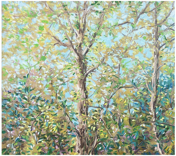 The Forest by Animesh Roy, Impressionism Painting, Oil on Linen, Beige color