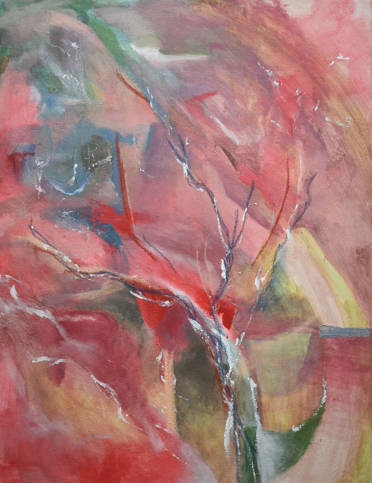 Reconnect by Rinden, Expressionism Painting, Mixed Media on Canvas, Brown color