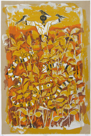 Chadio by Jagdeep Smart, Expressionism Printmaking, Serigraph on Paper, Brown color