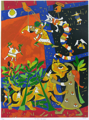 The Tiger & The Snake by Jagdeep Smart, Expressionism Printmaking, Serigraph on Paper, Green color