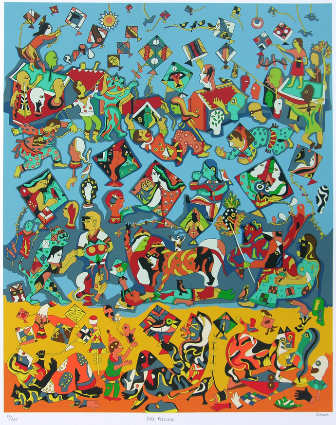 Kite Festival by Jagdeep Smart, Expressionism Printmaking, Serigraph on Paper, Green color