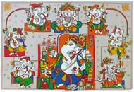 Ashtavinayak by Jagdeep Smart, Decorative Printmaking, Serigraph on Paper, Brown color