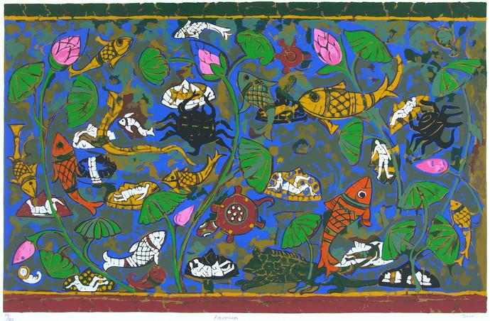 Aquarium by Jagdeep Smart, Expressionism Printmaking, Serigraph on Paper, Green color
