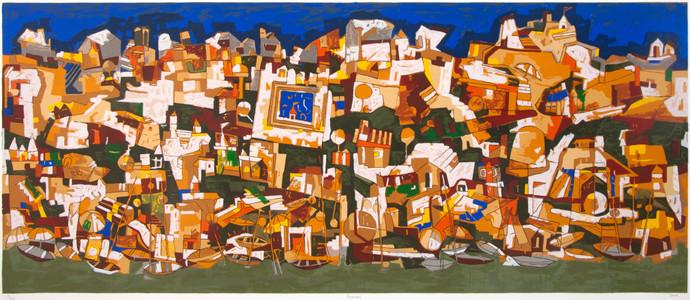 Banaras by Jagdeep Smart, Expressionism Printmaking, Serigraph on Paper, Brown color