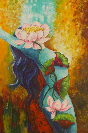 Beauty of Holiness by Anjali U. Chaudhary, Decorative Painting, Acrylic on Canvas, Brown color