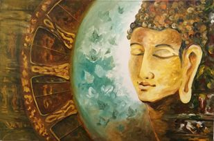 ConqueringHeaven by Anjali U. Chaudhary, Decorative Painting, Acrylic on Canvas,