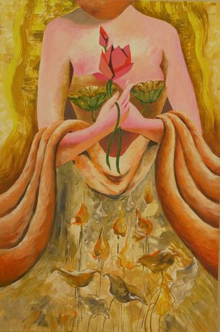 Meet and greet by Anjali U. Chaudhary, Expressionism Painting, Acrylic on Canvas, Brown color