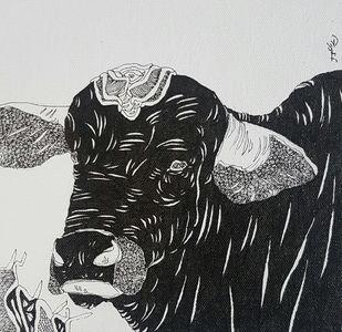 Bull by Ramakrishna Vasanthula, Illustration Drawing, Pen on Canvas, Gray color