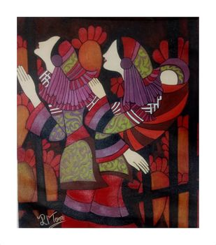 BANJARE by PARESH MORE, Expressionism Painting, Acrylic on Canvas, Brown color