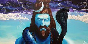 Shiva by Shrey Sukhee, Image Painting, Acrylic on Canvas,