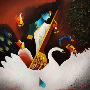 Sawaswati by Shrey Sukhee, Expressionism Painting, Acrylic on Canvas,