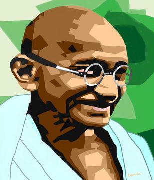 Mahatma by Susmita Mishra, Digital Digital Art, Digital Print on Archival Paper, Brown color