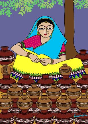 Pot seller by Susmita Mishra, Digital Digital Art, Digital Print on Archival Paper, Brown color