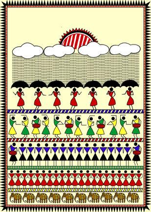 Celebrating rain by Susmita Mishra, Digital Digital Art, Digital Print on Archival Paper, Beige color
