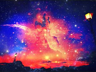 'Pratibimb: AkashGanga' by Atul Pandita , Digital Digital Art, Digital Print on Canvas, Blue color