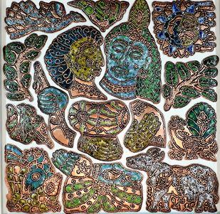 Radha krishna by Karoonamoorthy.N, Art Deco Sculpture | 3D, Metal, Brown color
