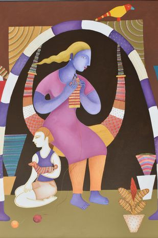 Village Girl by Nitai Das, Expressionism Painting, Acrylic on Canvas, Brown color