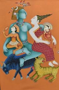 Shiva And Parvati Digital Print by Nitai Das,Expressionism
