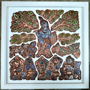 KRISHNA WITH GOPIKAS by Karoonamoorthy.N, Art Deco Sculpture | 3D, Vitreous Enamels on Metal, Brown color