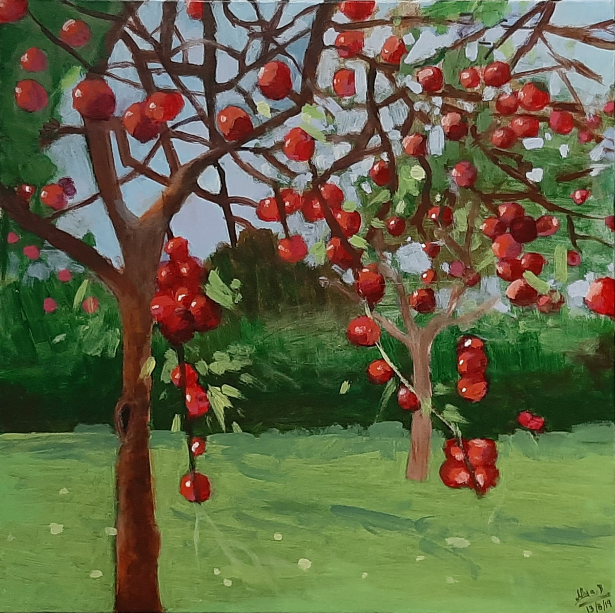 Red Cherries by Tejal Bhagat, Expressionism Painting, Acrylic on Canvas, Green color