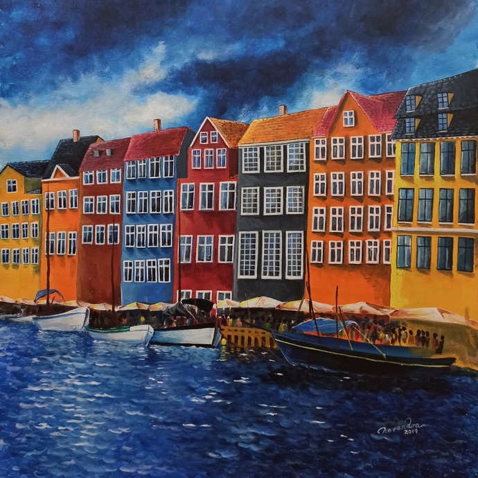 Bryggen, Norway Digital Print by Herendra Swarup ,Expressionism