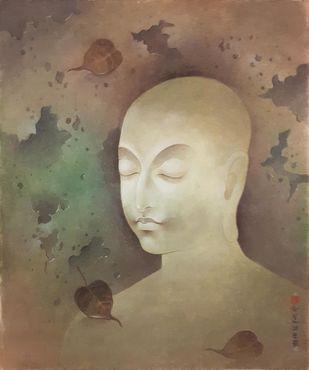Untitled by Mintu Naiya, Fantasy Painting, Watercolor Wash on Paper, Brown color