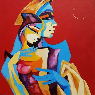 Krishna and Radha by Laxmi Mysore , Expressionism Painting, Acrylic on Canvas, Red color