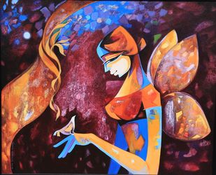 Teach me to Fly by Laxmi Mysore , Expressionism Painting, Acrylic on Canvas, Brown color