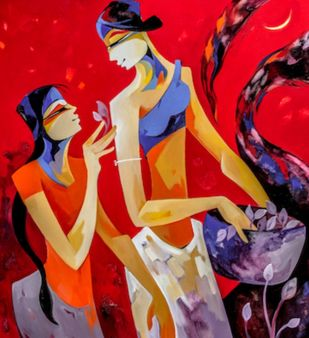 The flower collectors 2 by Laxmi Mysore , Expressionism Painting, Acrylic on Canvas, Red color