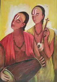 Sankirtan by NARENDRA NIGAM, Expressionism Painting, Acrylic & Graphite on Canvas, Brown color