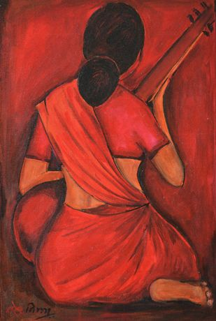 Music of red by NARENDRA NIGAM, Expressionism Painting, Acrylic & Graphite on Canvas, Red color