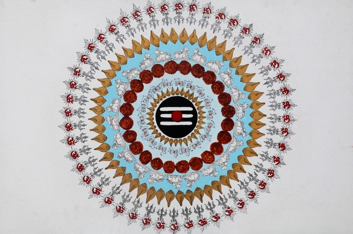 Shiv Mandal by Tanvi Chauhan, Geometrical Painting, Acrylic on Canvas, Gray color