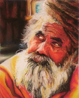 Portrait by Netal Rathore, Realism Painting, Dry Pastel on Paper, Brown color