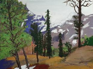 Himachal Forest Digital Print by Tejal Bhagat,Expressionism