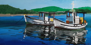 The Boats by Tejal Bhagat, Expressionism Painting, Acrylic on Canvas, Blue color