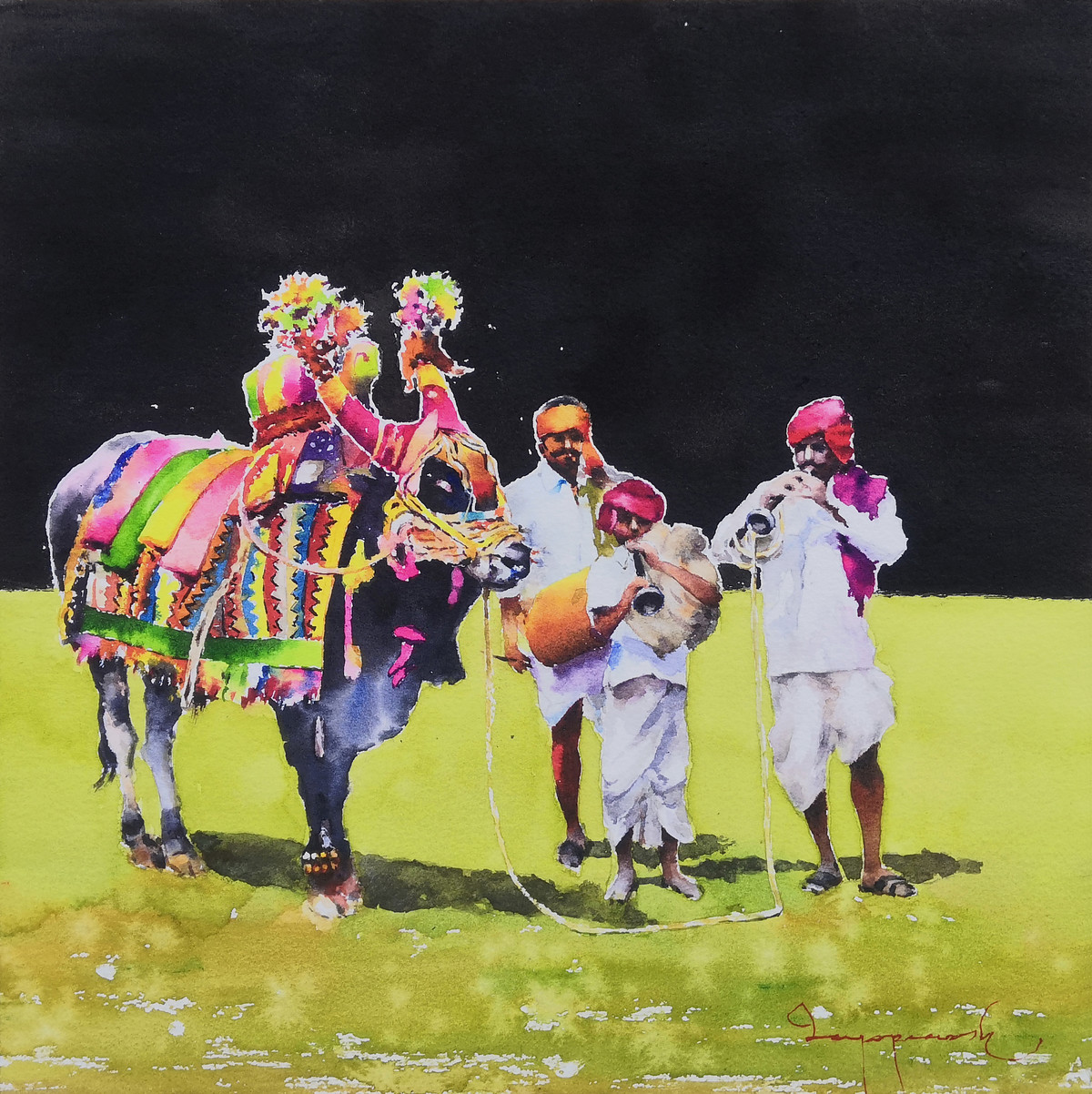 Gangireddu with 3 Masters ( black version ) Digital Print by Jeyaprakash M,Pop Art