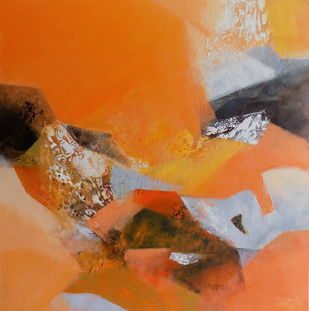 Incandescent 2 by Vishwajyoti Mohrhoff, Abstract Painting, Acrylic on Canvas, Brown color