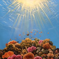 Great Barrier Reef (Coral Reef), Australia by Herendra Swarup , Realism Painting, Acrylic on Canvas, Cyan color