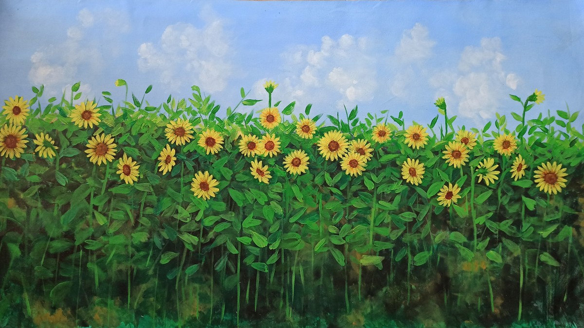 Sunflower Field by Herendra Swarup , Expressionism Painting, Acrylic on Canvas, Green color