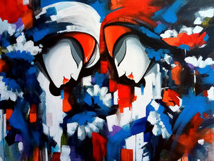 colors of love by pradeesh k raman, Decorative Painting, Acrylic on Canvas, Blue color
